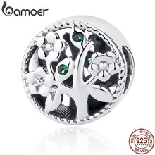 BAMOER Fashion 100% 925 Sterling Silver Tree of Life Bead Charms fit Bracelets Women Beads & Jewelry Making DIY SCC115(China)