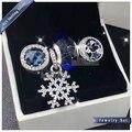 2016 Winter NEW women jewelry Set Blue Star Snowflake Series Charm beads Set S925 Sterling Silver Fit European Bracelet fet