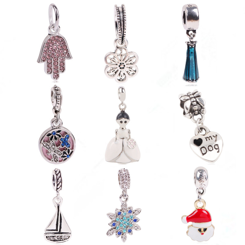 dodocharms Silver Color Blue Christmas Winter Snowflake Elk Sled Beads For Original Pandora Charm Bracelet DIY Jewelry