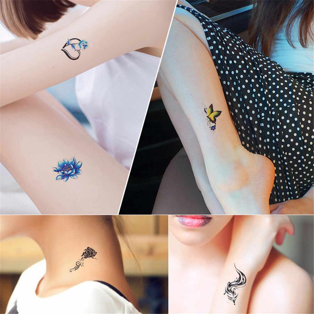 30PC Flowers Colored Fashion Waterproof Temporary Tattoo Sticker Women Sex Flash Fake Tatoo Tatto Henna Red Blossom Make Up L58