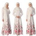 Chá da bolha 2017 Vestido Dos Muçulmanos Mulheres Islâmicas Abaya Manga Longa Vestidos de Impressão Retro Elegante Cocktail Túnica Árabe Kaftan Turca