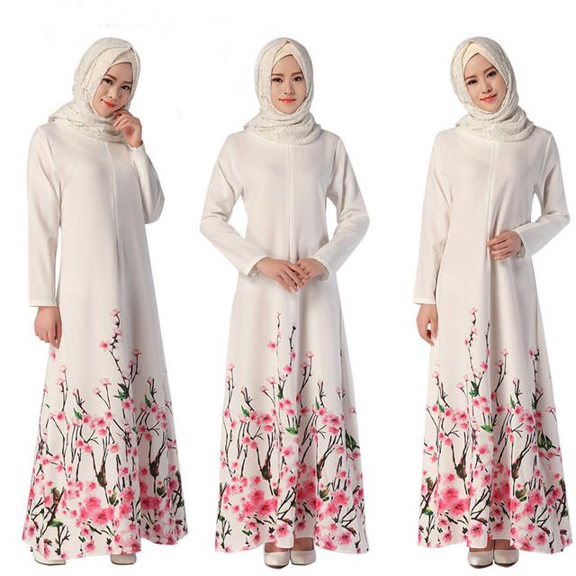 Té de la burbuja 2017 Mujeres Del Vestido Musulmán Islámico Abaya Vestidos de Manga Larga de Impresión Elegante Retro Cocktail Túnica Árabe Caftán Turco
