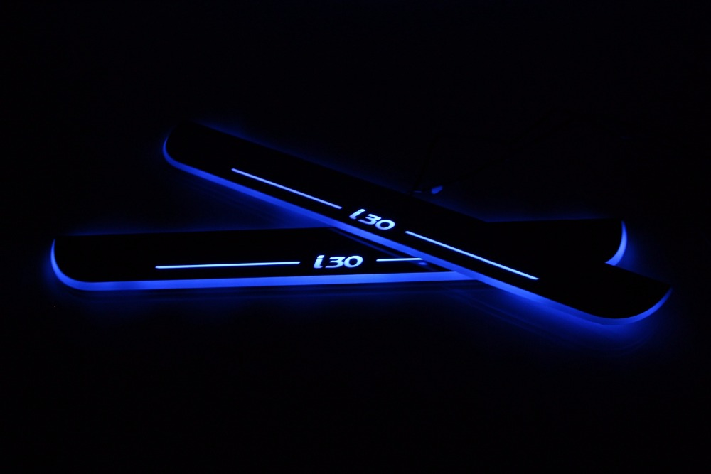 WOOBEST Waterproof Ultrathin Acrylic LED door sill for Hyundai I30, Led moving door scuf ...