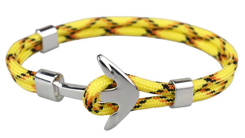 Laagste Prijs Anker Armbanden Mannen Charm Rope Chain Armband Mannelijke Wrap Metal Sport Haken Mannen Vrouwen Armband