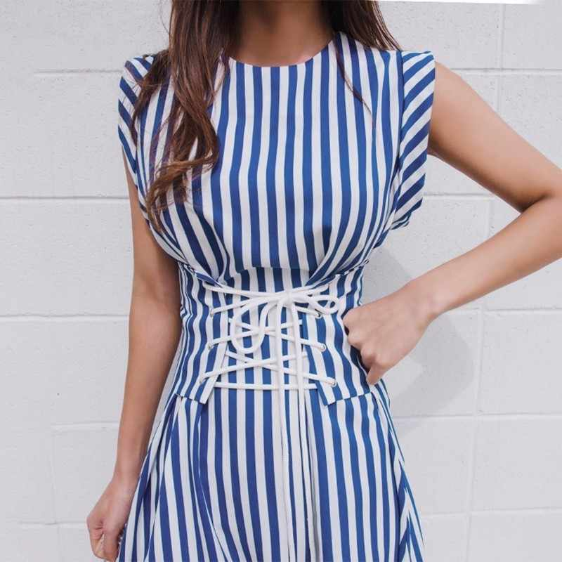 045772c0b9a42 TWOTWINSTYLE Lace Up Dress For Women Striped Sleeveless Tunic High Waist  Long Holiday Dresses 2018 Summer Fashion Korean Clothes