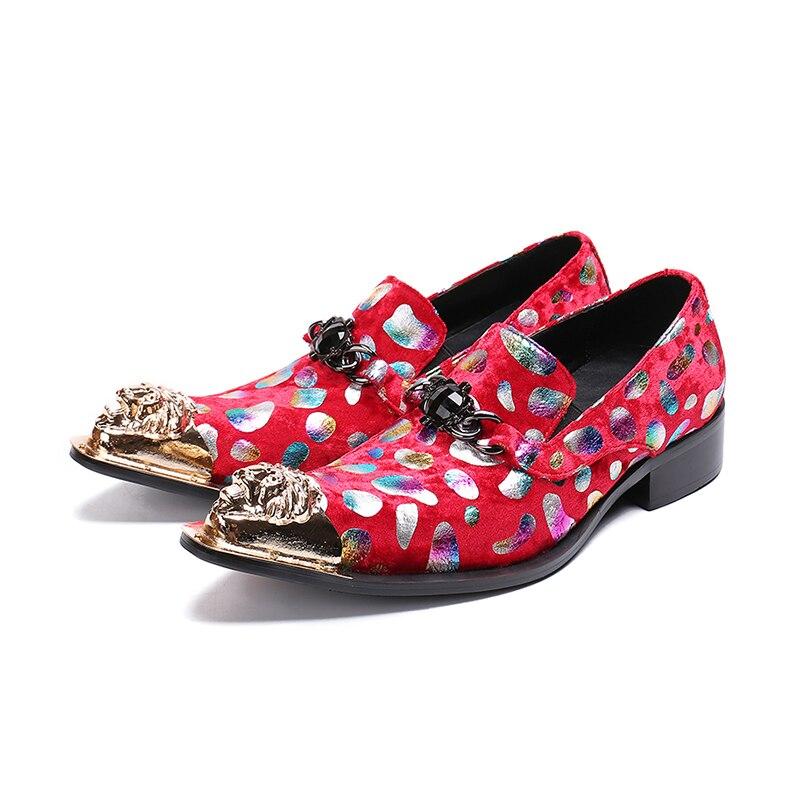 Vivodsicco Do Negócios Casamento Impressão Dos vermelho Apontou Pé Homens Zapatos Senhores Hombre Pena Sapatos Cores Vestido Partido De Dedo Sapatas Couro Azul 7IYFF