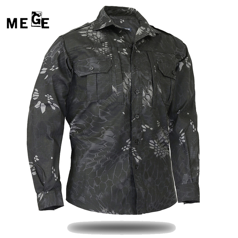 MEGE Men Outdoor Summer Autumn Long Sleeve Shirt Breathable Military Combat Game SWAT Police Airsoft, Men 2017 Fishing Shirts image