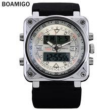 BOAMIGO hombres relojes de marca de lujo banda de goma de doble pantalla relojes analógico digital LED relojes de pulsera 30 M impermeable reloj de cuarzo