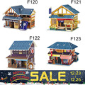 2017 3D Wood Puzzle DIY Model Kids Toy Western Japan Style House Puzzle 3d building wooden puzzles Free Shipping birthday gift