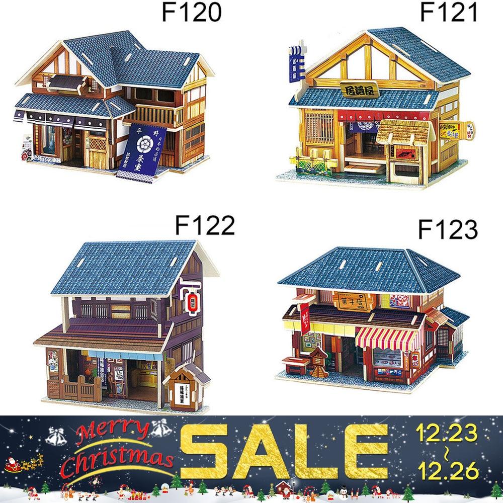 2017 3d holz puzzle diy modell kinder spielzeug westlichen japan stil haus puzzle 3d building holzpuzzles