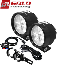 GOLDRUNWAY EXP3 Motorcycle Fully dimmable Headlight auxiliary LED light 12V 18W Auxiliary Lamp 2400LM Scooters Fog Light
