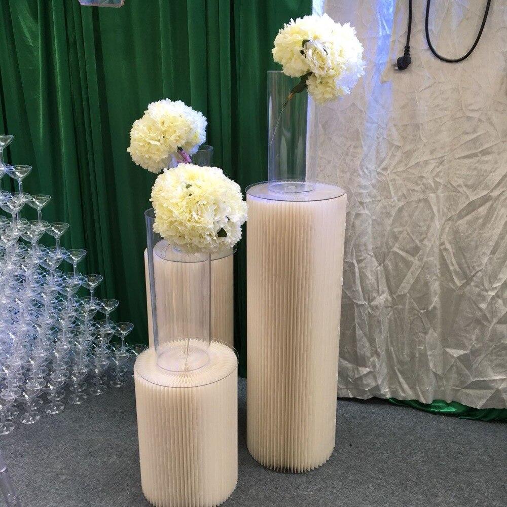Hôtel salle de mariage doux-décoration stand d'exposition grand gâteau fleurs alimentaire rack suspendu plafond papier pliant pilier route plomb