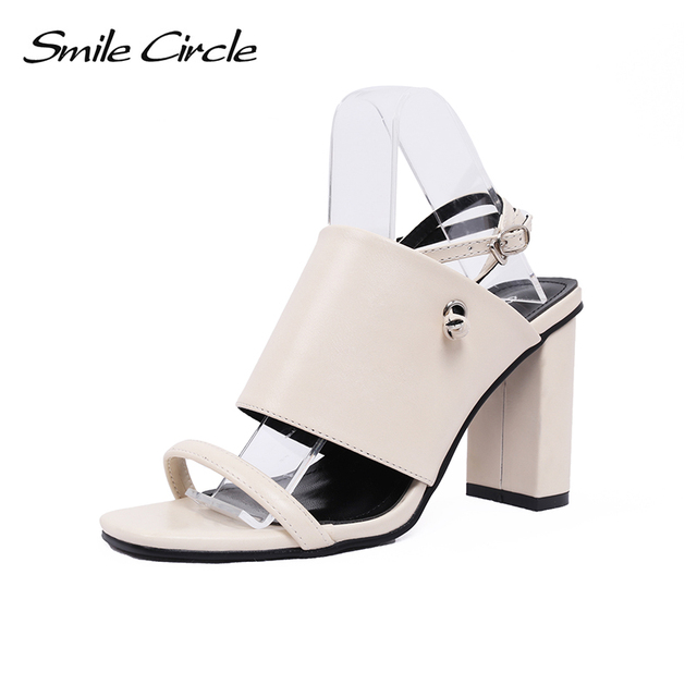 f66cb1f1d78d6a Smile Circle 2018 Summer Sandals Woman shoes Square toe High-heeled shoes  fashion Cozy Sandals