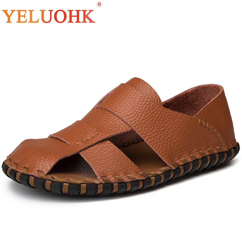 Handmade Men Sandals 2018 Classic Soft Leather Sandals Men Summer Shoes