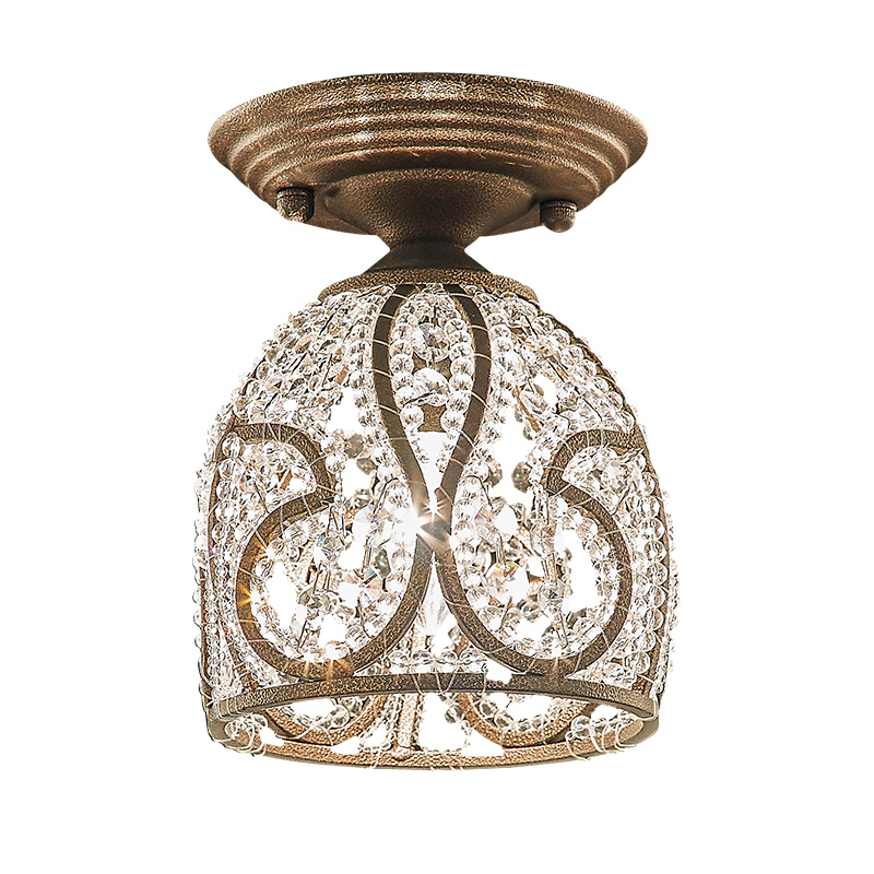 American style crystal e14 ceiling lamp living room bedroom circular balcony porch lighting ceiling light ZA918716