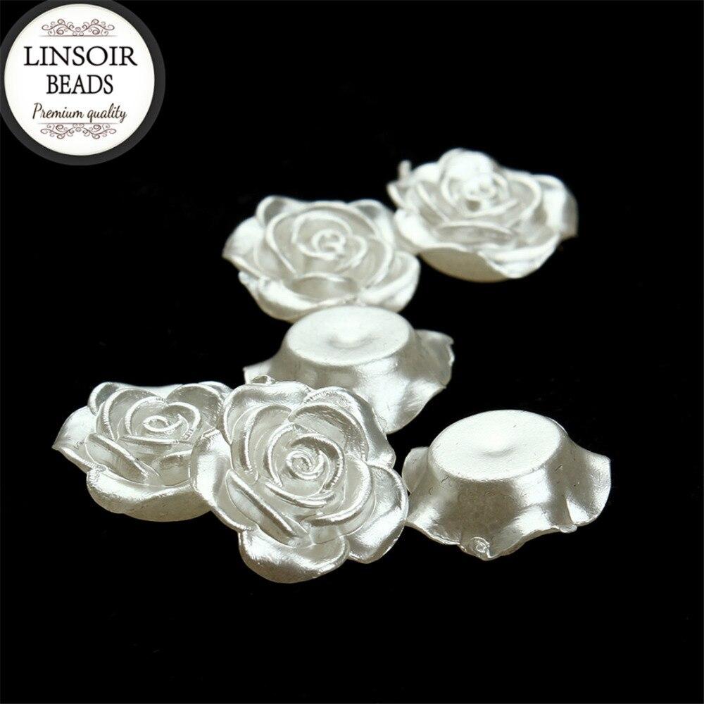 Linsoir 100 шт. 12 мм цветок имитация половина жемчужные бусы Украшения плоской задней кабошон бисер DIY ювелирных изделий F1571