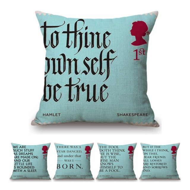 Literature Library Decoration Throw Pillow Cover Aqua Blue Shakespeare Quotes Sonnet Hamlet Letter Print Nordic Cushion