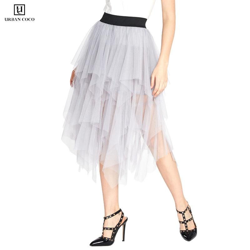 Urban CoCo Women's Sheer Tutu Skirt Tulle Mesh Layered Midi Skirt