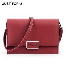 JUST FOR U Famous Brand Designer Small Flap Women Messenger Bag Soft Leather Female Shoulder & Crossbody Bags Ladies Purse Bag