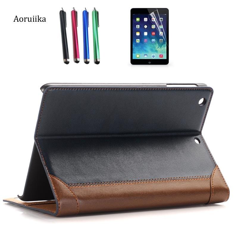 все цены на  High Quality PU Leather Tablet Smart Case Cover For APPle iPad mini 1 2 3 mini mini 2 mini 3 Retina cover Card wallet+film+pen  онлайн