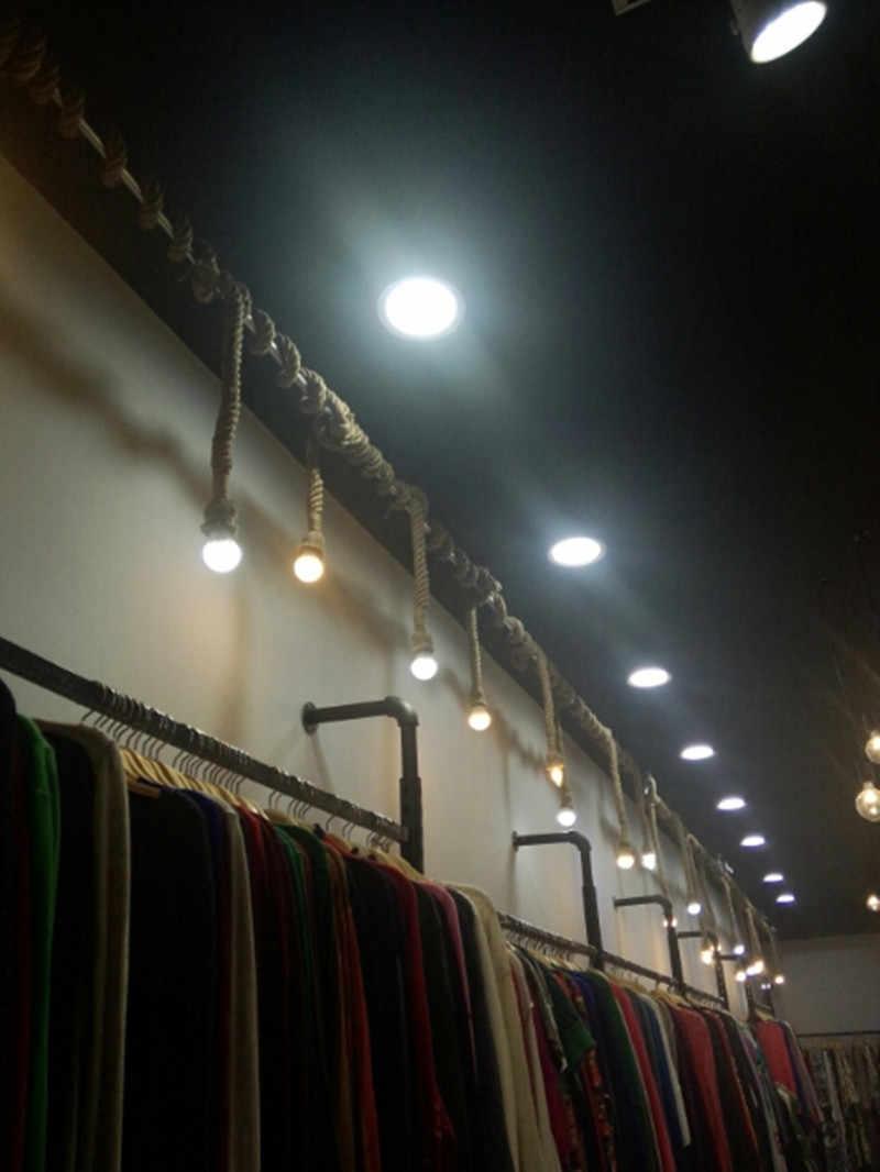 Lámpara colgante de cuerda Vintage para Loft, lámpara Industrial creativa con personalidad, Bombilla Edison, estilo americano para decoración de salón