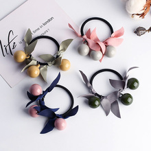 Fashion 1pc Women Girls Three Candy ColorsCharming Hair Rope Acrylic Beads Sweet Bands Accessories