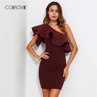 COLROVIE Flounce One Shoulder Form Fitting Dress 2018 New Short Sleeve Zipper Bodycon Short Dress Ruffle