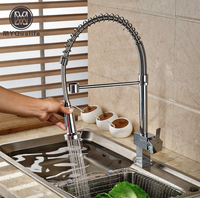 Brand New Single Lever Kitchen Faucet Deck Mount Dual Sprayer Nozzle Mixer Taps Chrome Finish One