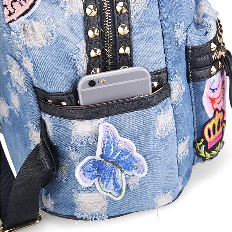 Ipinee Women's Denim Backpacks School Bags For Women Teenager Girls Shoulder Bag Large Travel Rucksack Bolsas Mochilas Femininas #5