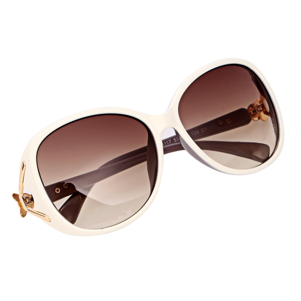 2017 new style fashion unisex oversize lens sunglasses glasses eyewear plastic white frame gold trim temple