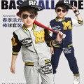 2015 nuevo estilo best cool babi chico conjunto de ropa deportiva chándal fantasía azul marino primavera ropa set infantiles uniforme de béisbol moda