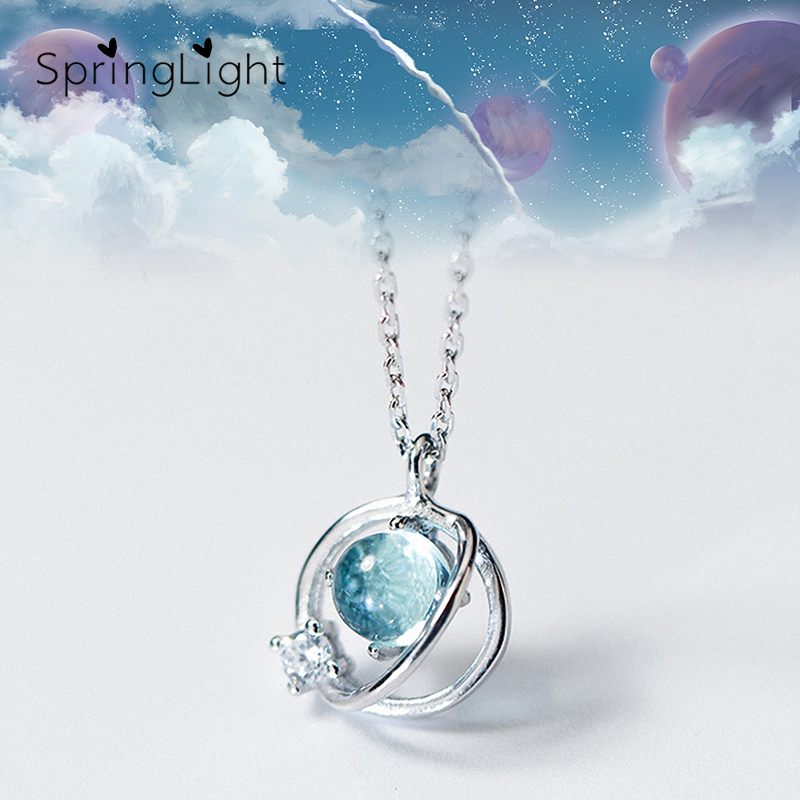 SpringLight Aurora Planet Design Crystal Pendant Real 925 Silver Fine Jewelry Blue Gemstone Round Halo Necklace For Women Gifts