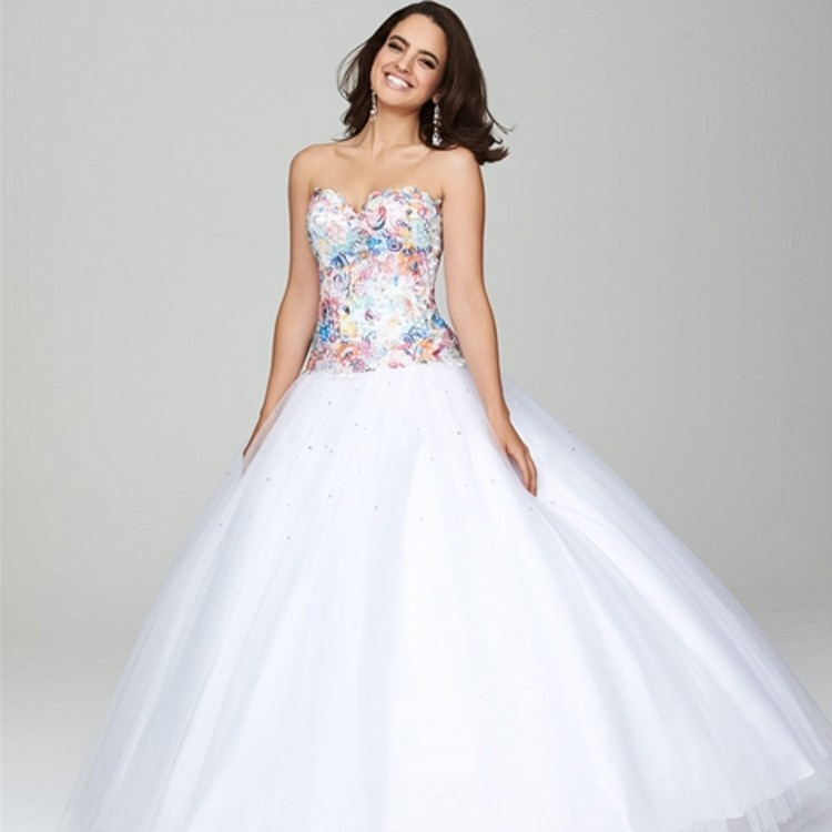 Online Buy Wholesale white ball gown prom dresses from China white ...