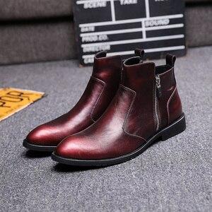 Image 4 - 英国スタイル男性ファッションパーティーナイトクラブドレス本物の革の靴オックスフォード靴春秋チェルシーアンクルブーツ
