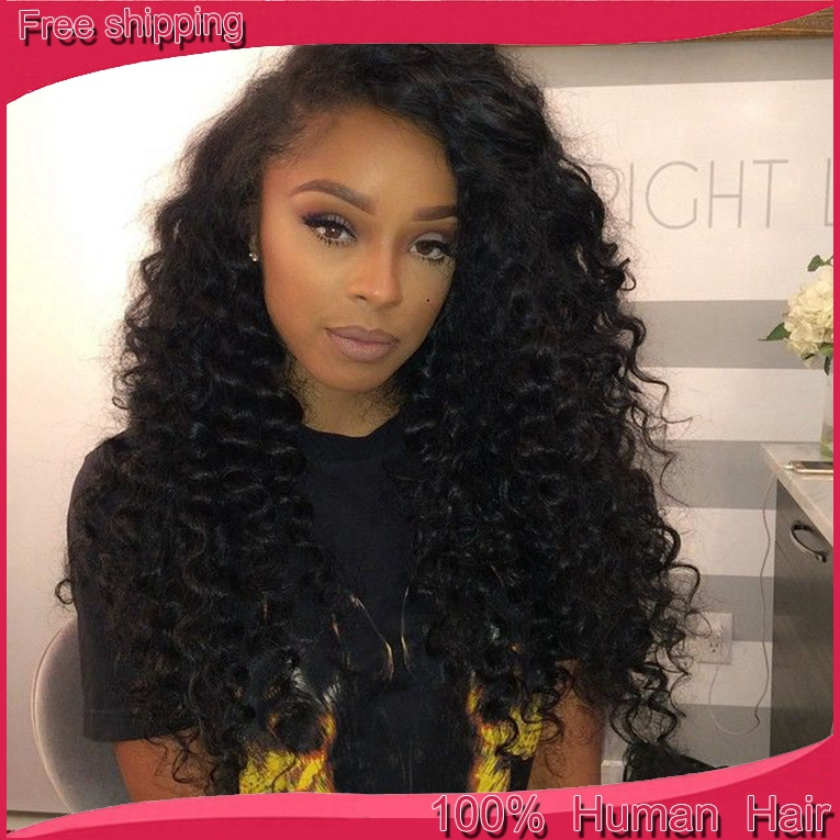 7A Free part top quality Brazilian curly lace wig deep wave lace front wig  virgin full lace wigs with baby hair for black women-in Human Hair Lace Wigs  from ... 779e6434180b