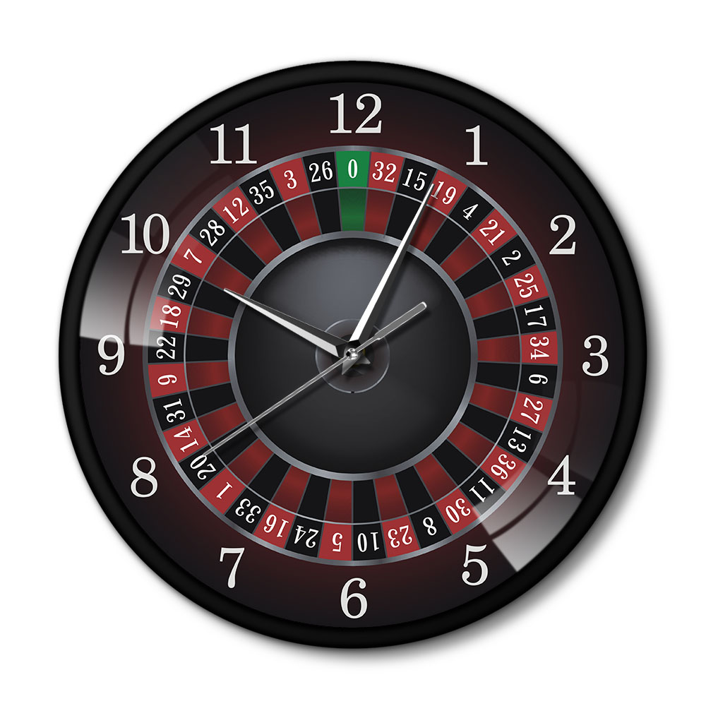 Poker Roulette Wall Clock With Black Metal Frame Las Vegas Game Room Wall Art Decor Timepiece Clock Watch Gambling Casino Gift