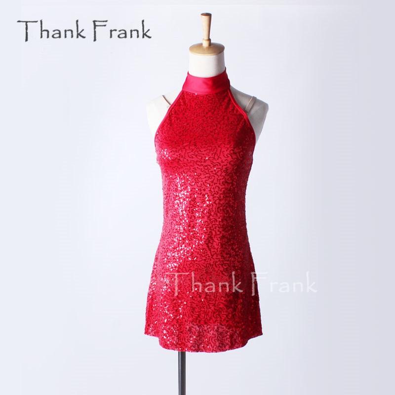 Thank Frank Mock Turtleneck Tank Latin Dress Girls Adult Red Modern Jazz Contemporary Dance Costume C352