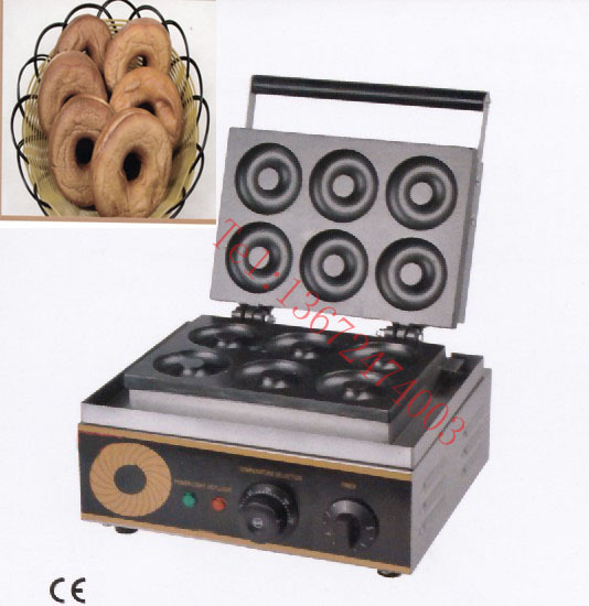 Free shipping~have CE Electric 220V/110v sweet donut machine 76mm cake 6 pcs donut fryer, waffle maker 110v 220v automatic donut making machines with 3 mold free shipping