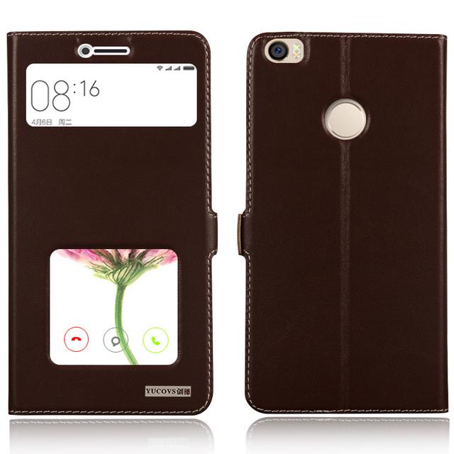 Lujo vista ventana genuino cubierta de cuero del caso del soporte para xiaomi mi max teléfono cubierta de la bolsa