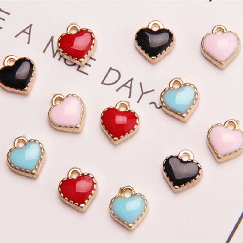 MRHUANG mix colour 20pcs/lot 7mm Heart Enamel Charms Fit DIY Bracelet Necklace Hair Jewelry Accessory DIY Craft ...