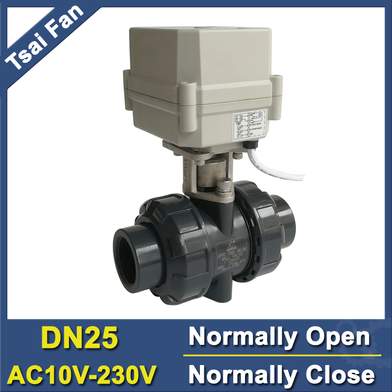 2 Way PVC 1'' 2/5 Wires DN25 Motorized Ball Valve BSP/NPT AC110-230V 10NM Electric Ball Valve On/Off 15 Sec Metal Gear CE shipping free dc5v 1 stainless steel electric ball valve dn25 electric motorized ball valve 2 wires cr01 wiring