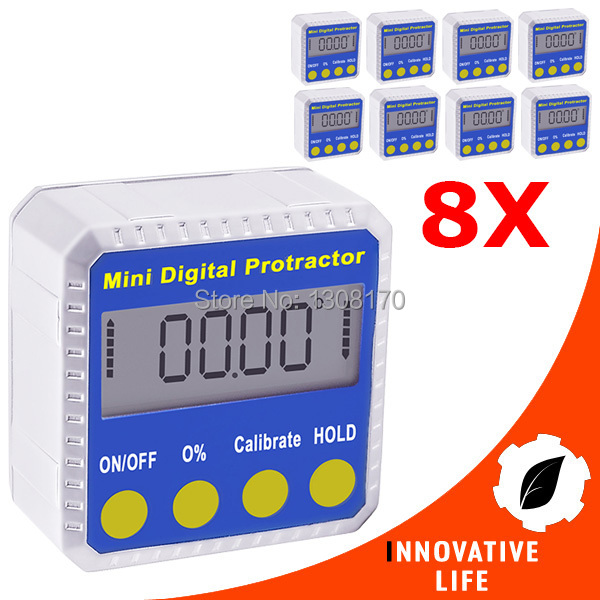 ФОТО 8 pieces x Digital Angle Finder Protractor Inclinometer Gauge Meter 4 x 90degree Bevel Box  with Magnetic Base