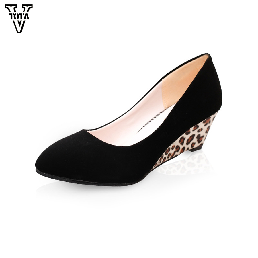 VTOTA  Wedge Women Pumps OL Pumps Shallow Mouth High Heels Platform Shose Increased Sexy Women's High Heels Slip On Shoes Woman nayiduyun women genuine leather wedge high heel pumps platform creepers round toe slip on casual shoes boots wedge sneakers