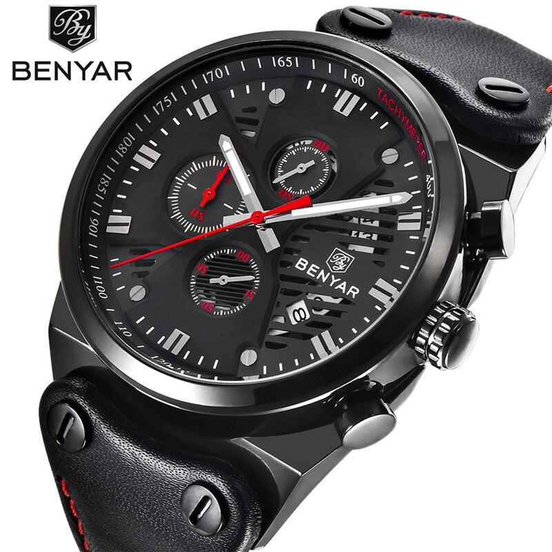 BENYAR cadran noir étanche Sport hommes montre marque Quartz cuir noir bracelet chronographe haut militaire luxe relogio masculino