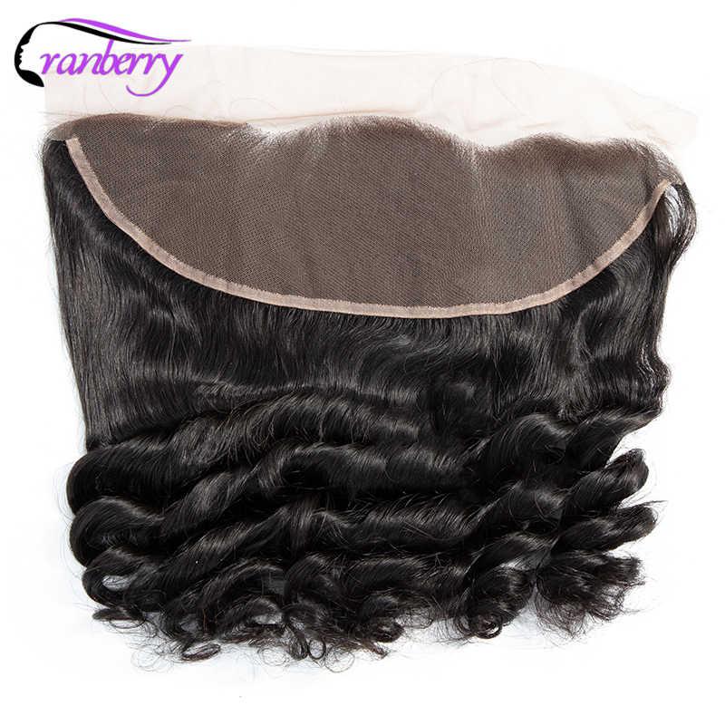 Mechones de pelo brasileño no Remy de arándano con paquetes de onda suelta de cierre con Frontal 13*4 de oreja a oreja cierre de encaje suizo