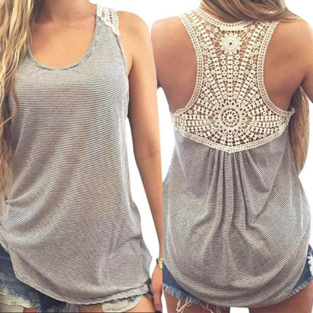 Newly Design Women Fashion Lace Back Striped Vest Casual Plus Size Sleeveless Tank Top Shirt 160505 Drop Shipping