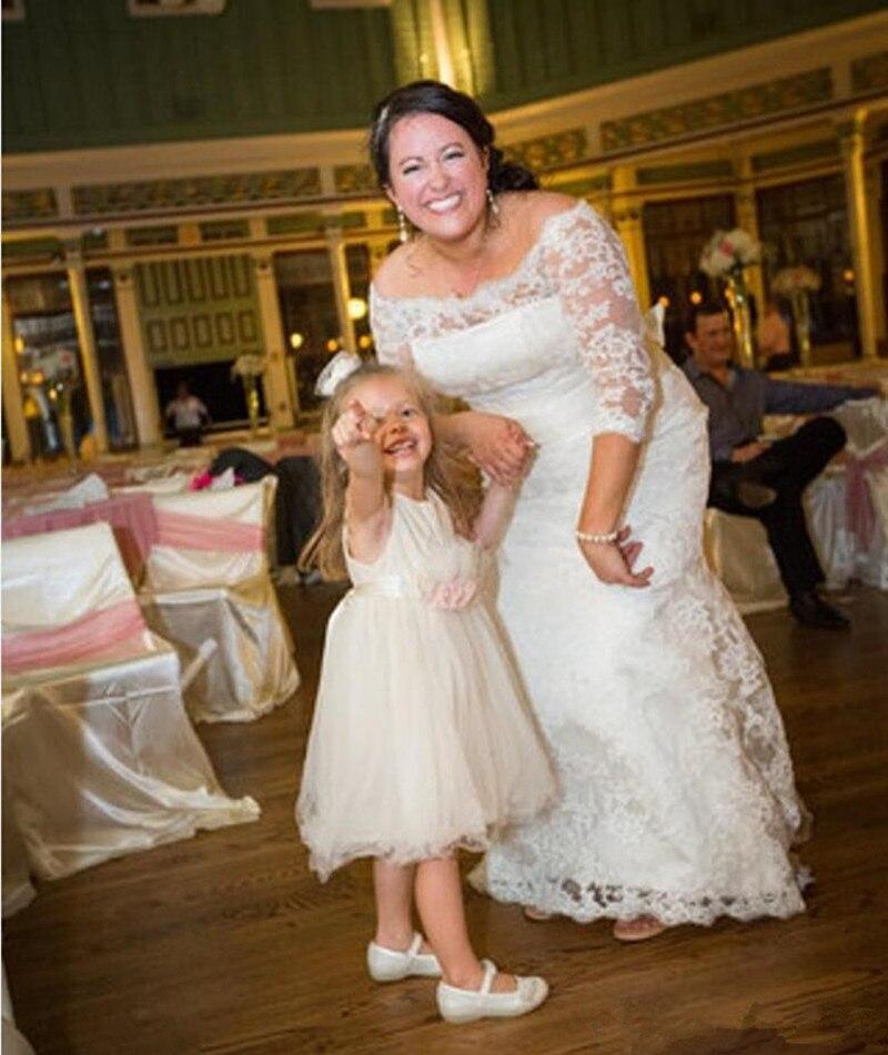 Vestidos кружевные свадебные платья с аппликацией, половина рукава, длина до пола, свадебные платья индивидуального пошива, большие размеры