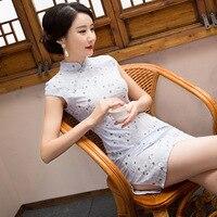 Nuovo modo di Arrivo donne cinese cheongsam breve qipao biancheria d'epoca di stampa tradicional oriental abiti del partito diserbo abiti