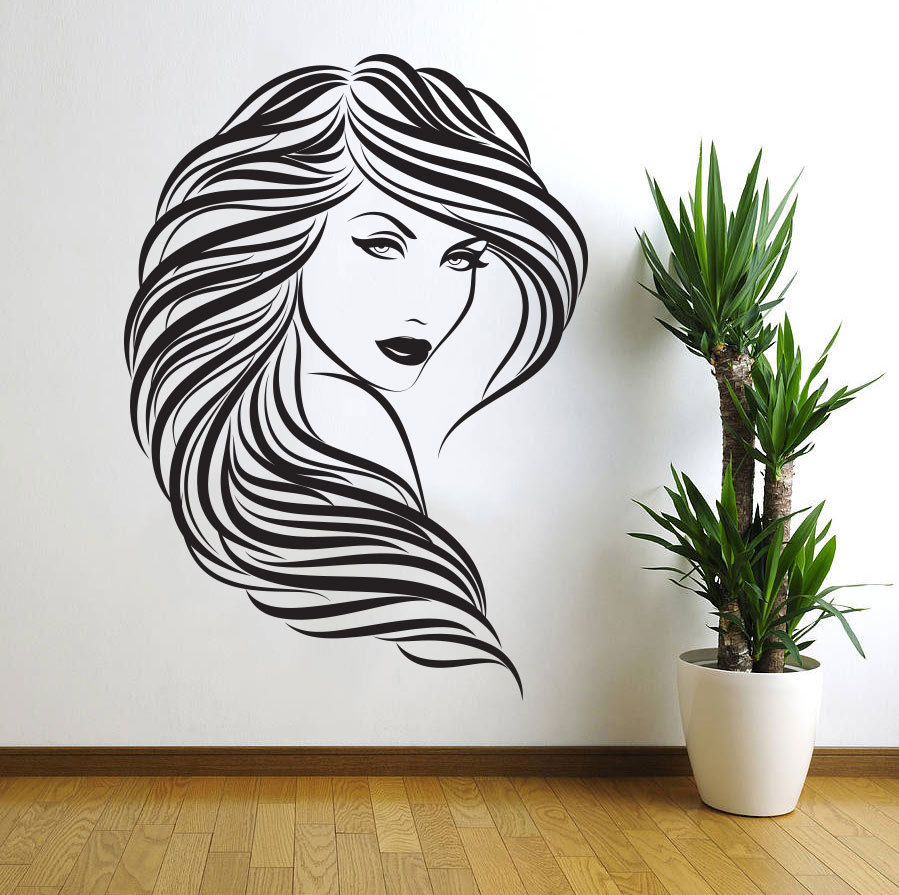 Removable Vinyl Wall Stickers Home Decor Hair Beauty Salon Barbershop Sexy Girl Wall Stickers Woman Face 3D Home Decor D152