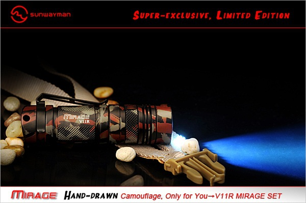 SUNWAYMAN V11R MIRAGE SET Flashlight CREE XM-L U3 LED 500 Lumens Hand-drawn Camouflage Super-exclusive Limited Edition Torch 3800 lumens cree xm l t6 5 modes led tactical flashlight torch waterproof lamp torch hunting flash light lantern for camping z93